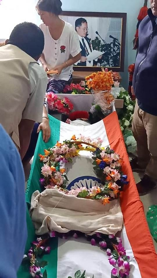 Khonsa West MLA Tirong Aboh, who was killed in an ambush near Bogapani in Arunachal Pradesh's Tirap district on May 21, being laid to rest