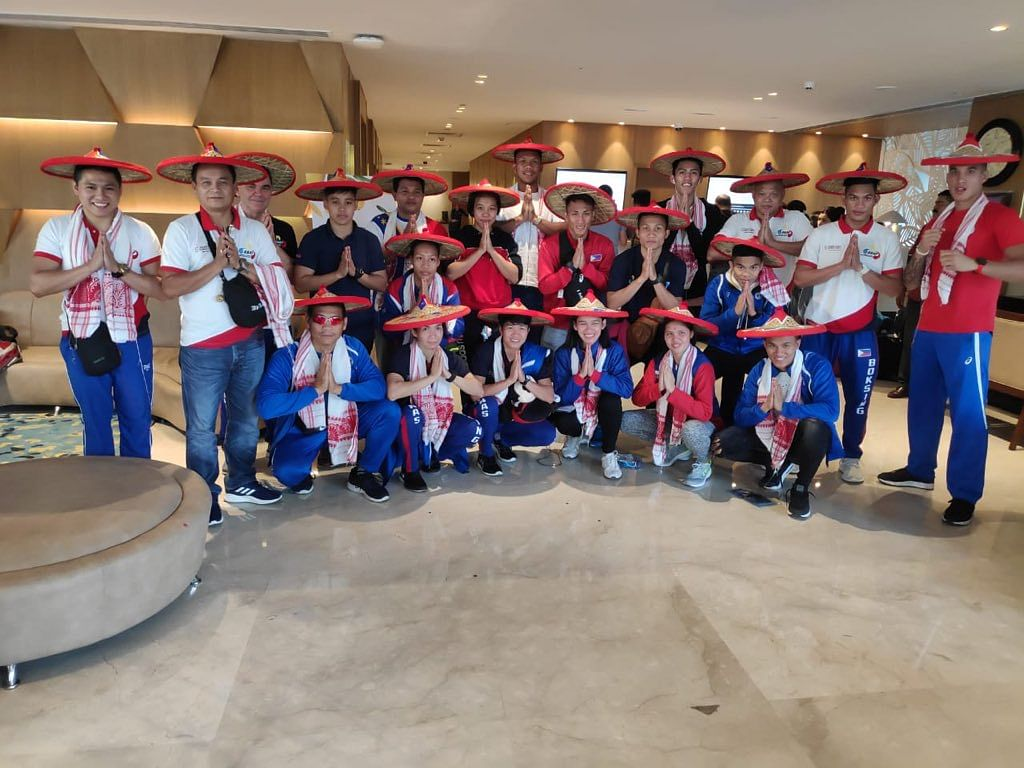 Team Philippines, the largest foreign contingent at 2nd India Open International Boxing Tournament with 24 members, reaches Guwahati; greeted with the traditional Assam 'gamusa' and 'jaapi'