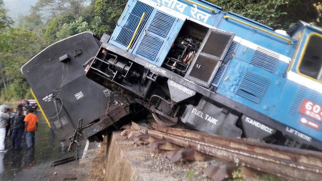 A derailment along the Darjeeling Himalayan Railway track in the past