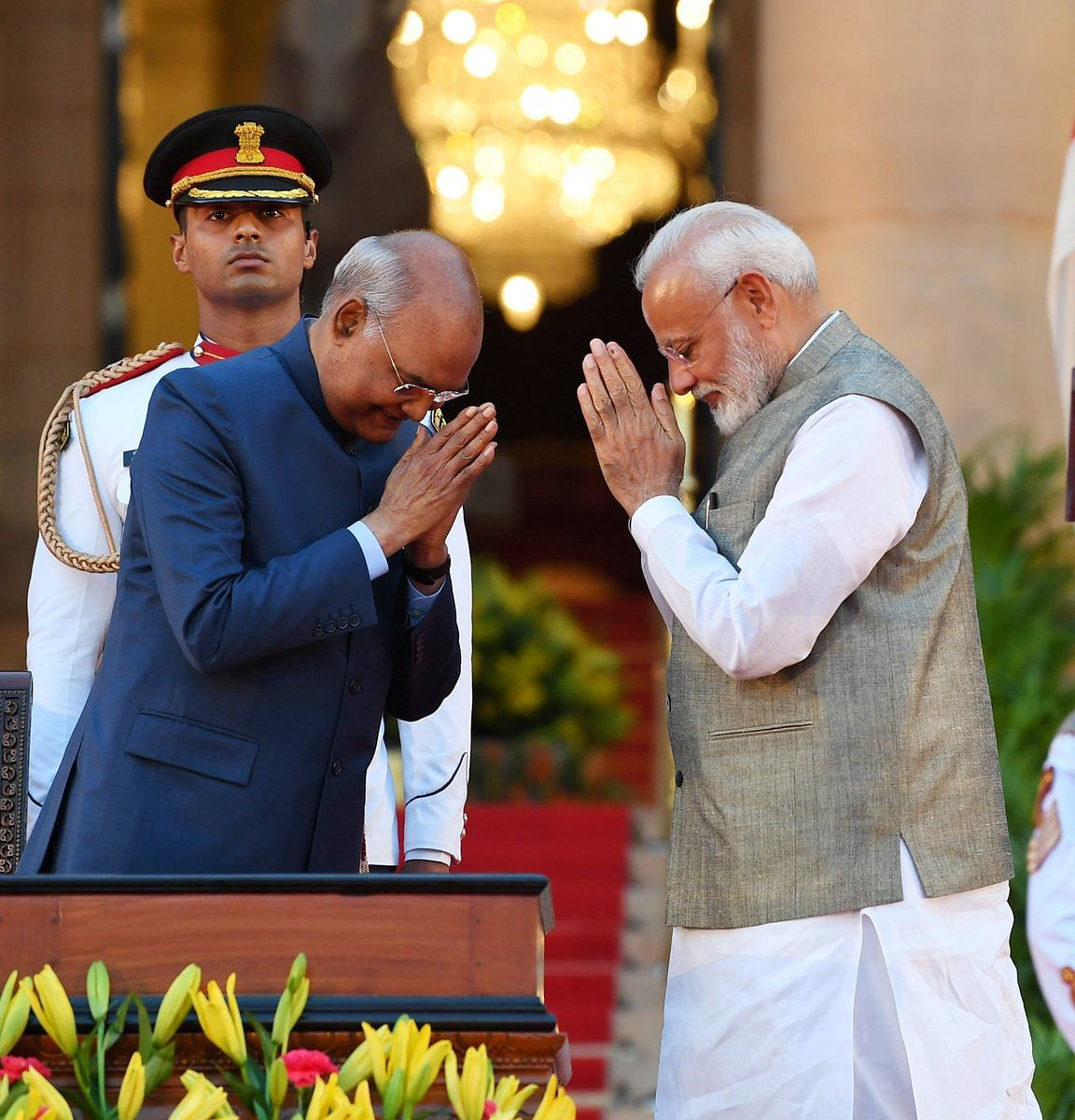 President Ram Nath Kovind with PM Narendra Modi ahead of the oath-taking ceremony of his new council of ministers at Rashtrapati Bhavan in New Delhi on Thursday evening