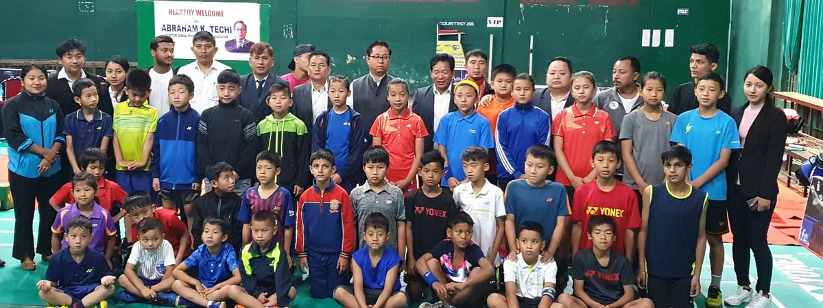 Some of the participants of the first Sub-Junior State Ranking Badminton Tournament 2019 being held in Itanagar, Arunachal Pradesh