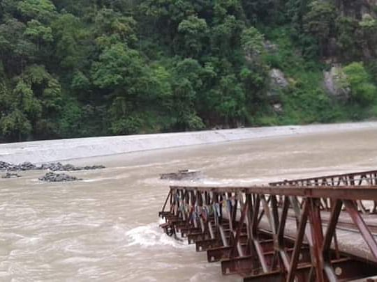 Sikkim: Overflowing river submerges newly-built bridge in Dzongu