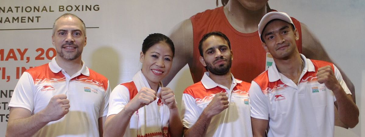 Team India boxers Mary Kom, Shiva Thapa and Amit Phangal with with0high performance director Santiago Nieva pose ahead of 2nd India Open International Boxing Tournament in Guwahati, Assam