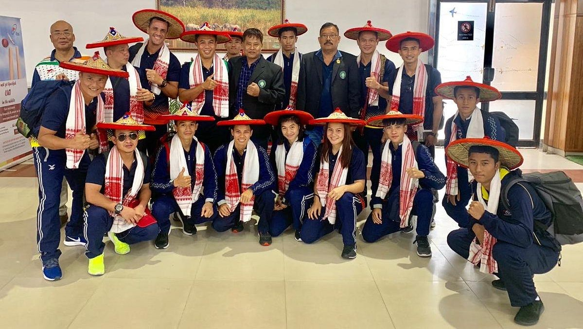 Team Thailand reaches Guwahati; greeted with the traditional Assam 'gamusa' and 'jaapi' ahead of the 2nd India Open International Boxing Tournament to be held from May 20 to 24