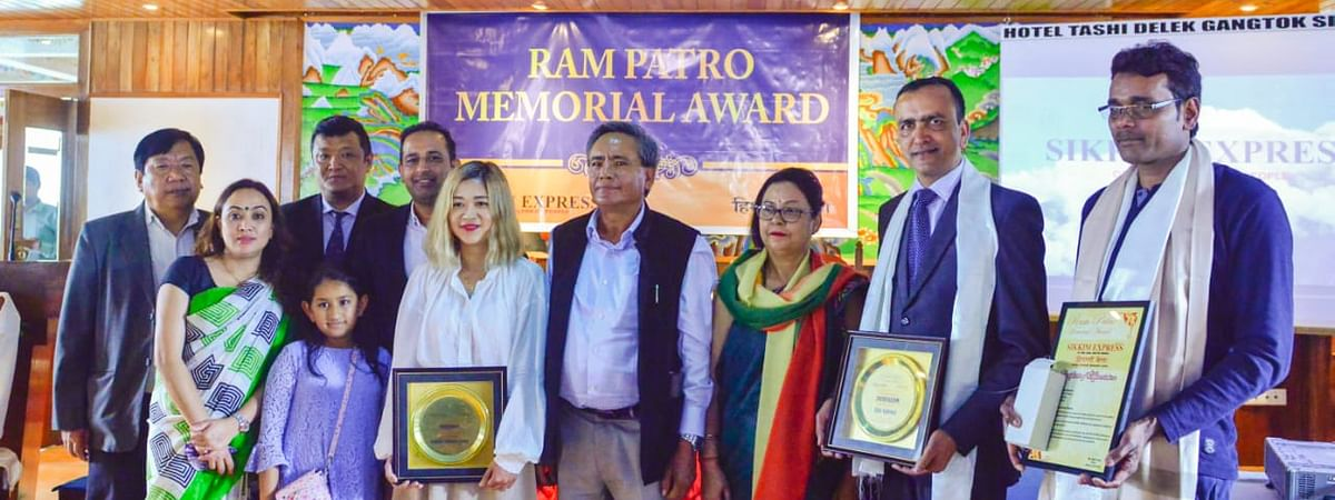 The awardees of this year's Ram Patro Memorial Award with the guests in Gangtok, Sikkim