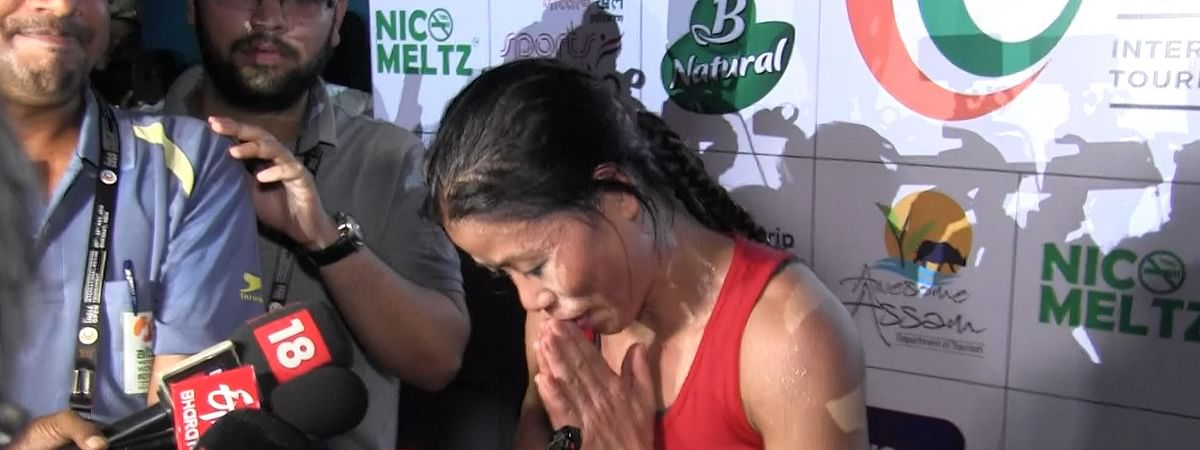 Manipuri boxerMC Mary Kom was panting and gasping for breath as the media surrounded her for her reaction after the match