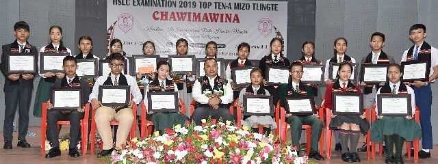The 20 indigenous students who were felicitated by Mizo Zirlai Pawl on Wednesday