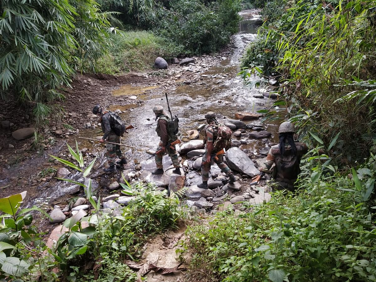 Security personnel undertaking a combing operation in Tirap district of Arunachal Pradesh