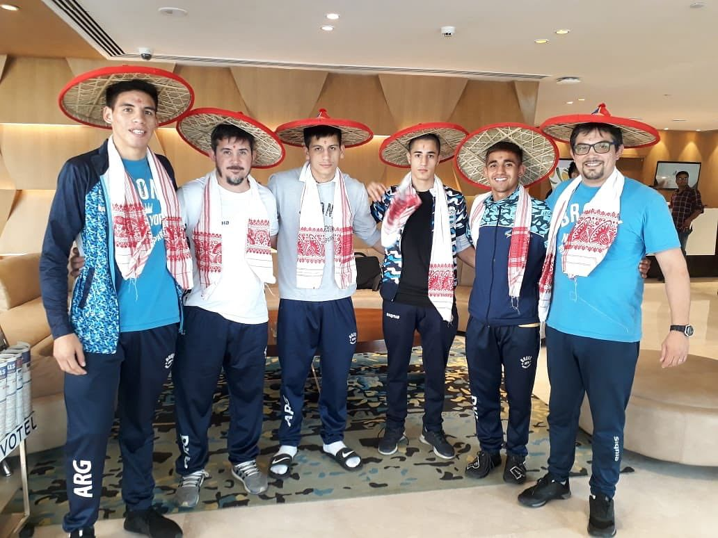 Team Argentina reaches Guwahati, Assam; greeted with the traditional Assam 'gamusa' and 'jaapi' ahead of the 2nd India Open International Boxing Tournament to be held from May 20 to 24