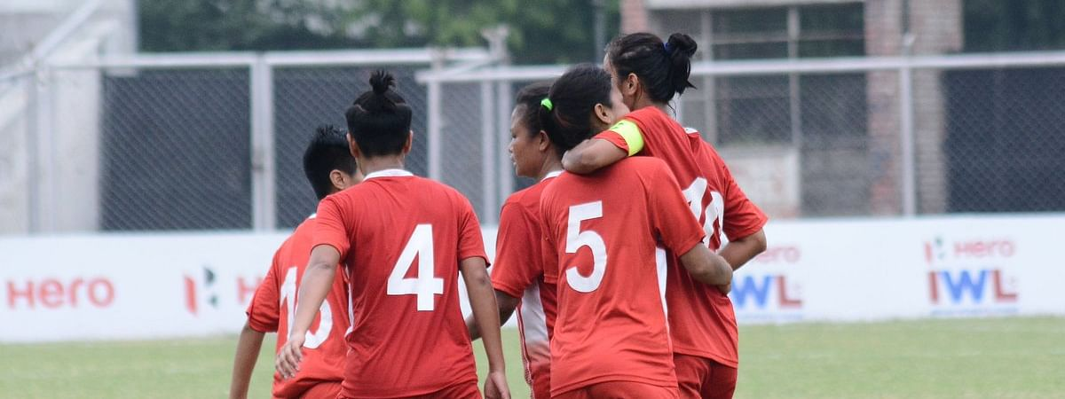 Manipur Police SC players celebrate after scoring a goal against Gokulam Kerala FC at the Indian Women's League semi-finals in Ludhiana on Monday