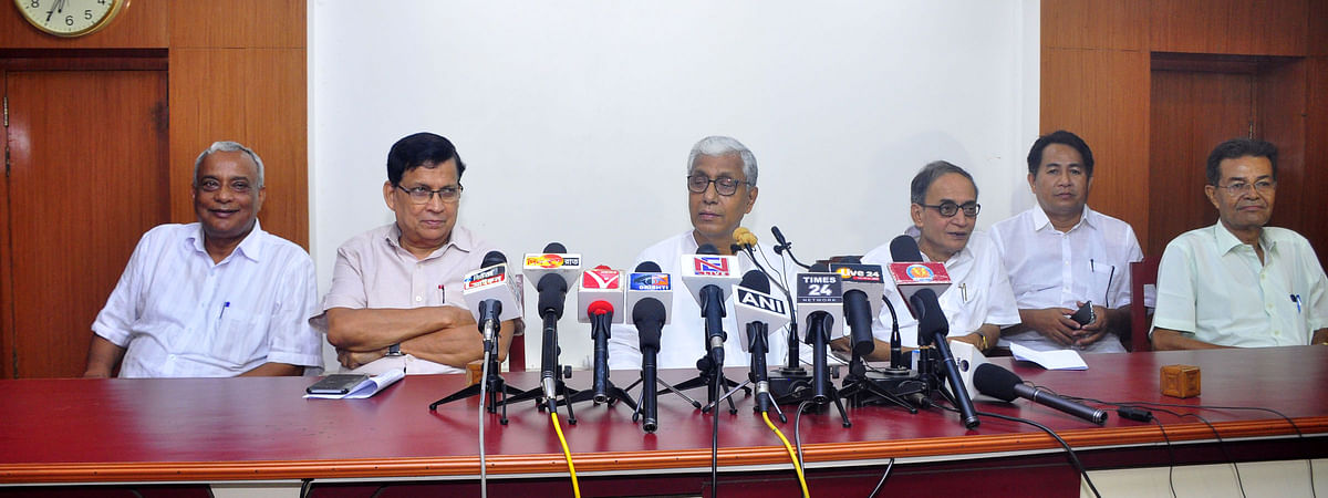Opposition Leader and former chief minister Manik Sarkar (third from left) addressing a press conference in Agartala
