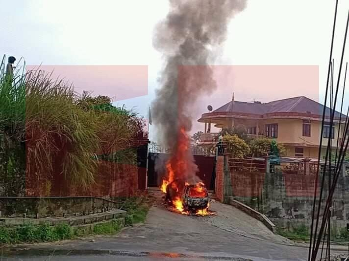 The car that was burnt in front of the gate of BJP MP Tapir Gao's residence on Friday morning