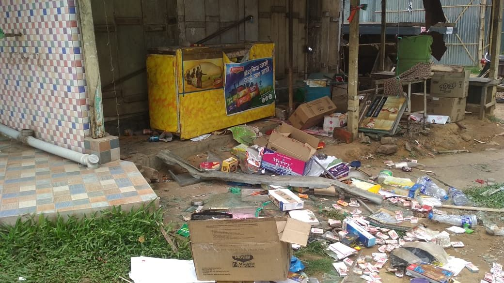 Several shops were vandalised by miscreants after the results were declared for the two Lok Sabha constituencies in Tripura