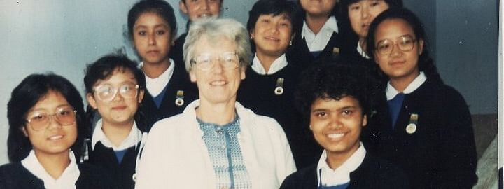 Isabelle M Ritchie with her students at Paljor Namgyal Girls' School in Gangtok, Sikkim