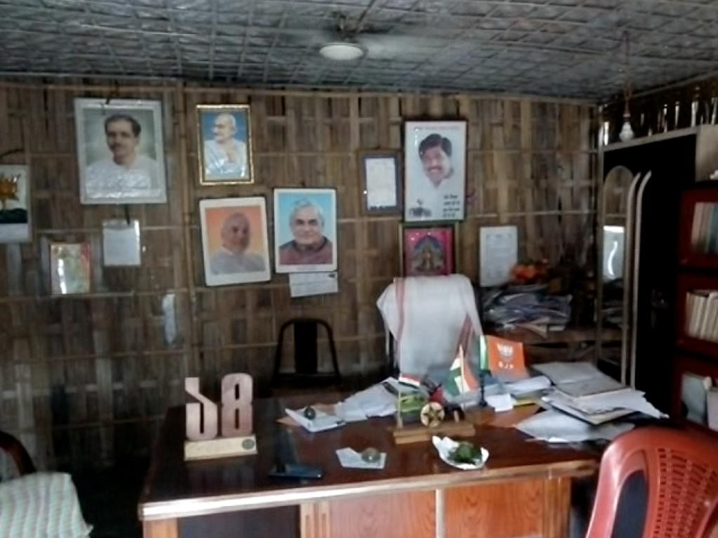 This is reportedly new MoS Rameswar Teli's home-cum-office in Dibrugarh, Assam