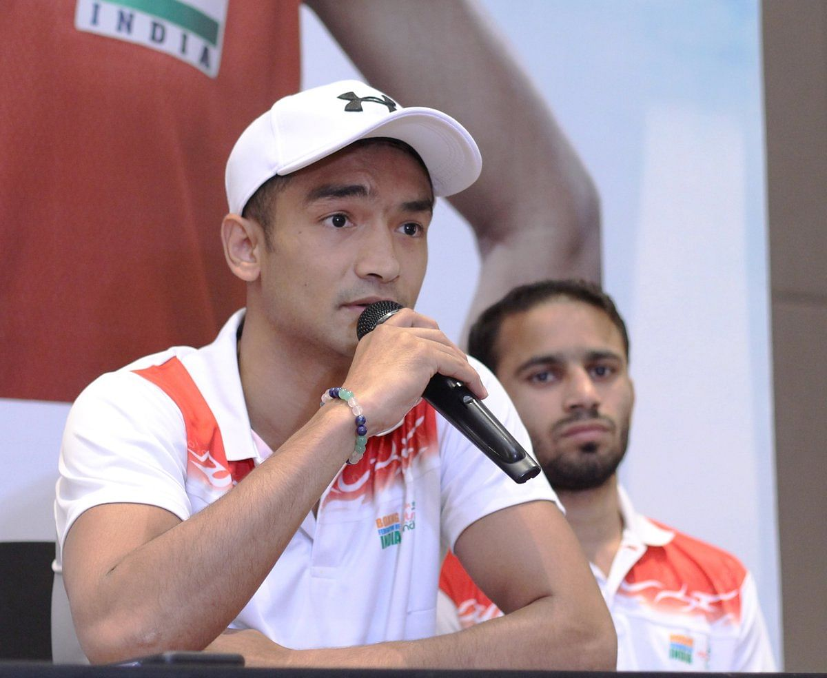 Assam boy Shiva Thapa, the country's youngest boxer ever to qualify for the Olympics, addresses the media ahead of the 2nd India Open International Boxing Tournament in Guwahati
