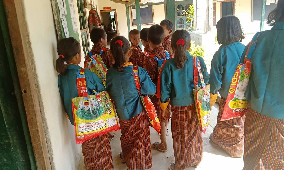 Recycled bags: How this Bhutan teacher is giving kids a green gift