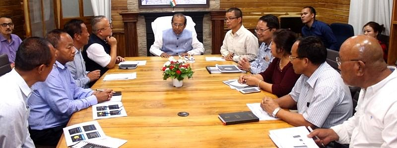 Mizoram governor Jagdish Mukhi interacting with heads of departments in Aizawl on Wednesday
