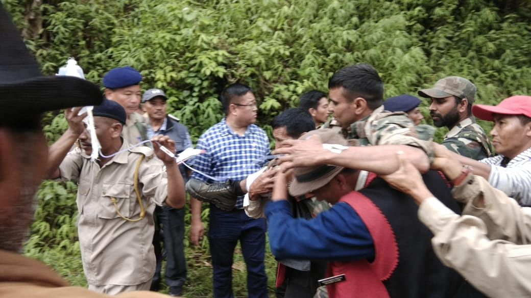 One of the injured being rushed to hospital from the site of encounter in Nagaland's Mon district on Saturday afternoon