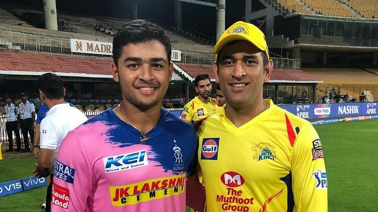 Riyan Parag (left) made his IPL debut for Rajasthan Royals in their league match against MS Dhoni-led Chennai Super Kings