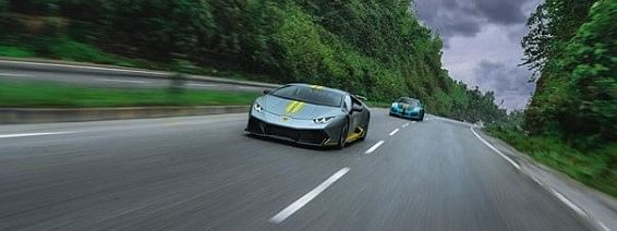 Boopesh Reddy's Lamborghini Huracan and Porsche 911 GT3 being driven on the Guwahati-Shillong highway on Sunday