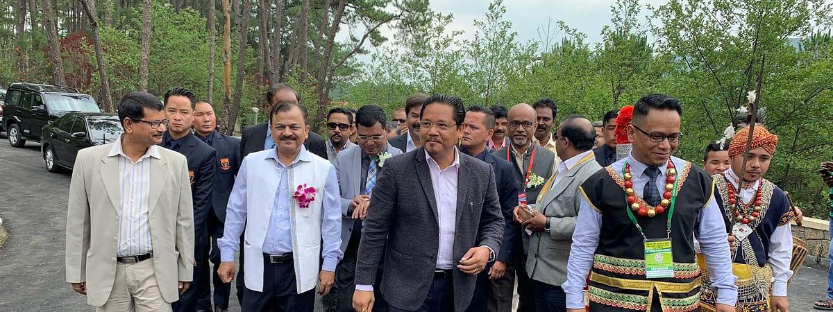 Meghalaya CM and NPP president Conrad K Sangma attending a function in Shillong recently