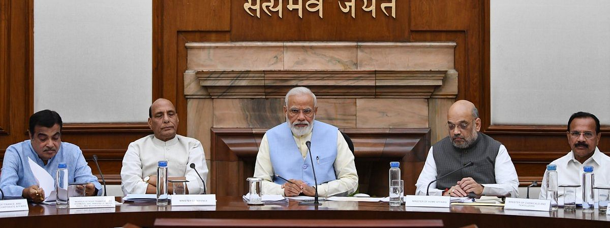 PM Narendra Modi chairing the first Cabinet meet on Friday