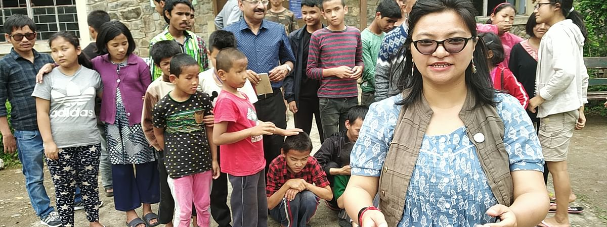 Darjeeling filmmaker Minket Lepcha in one of her story-telling sessions
