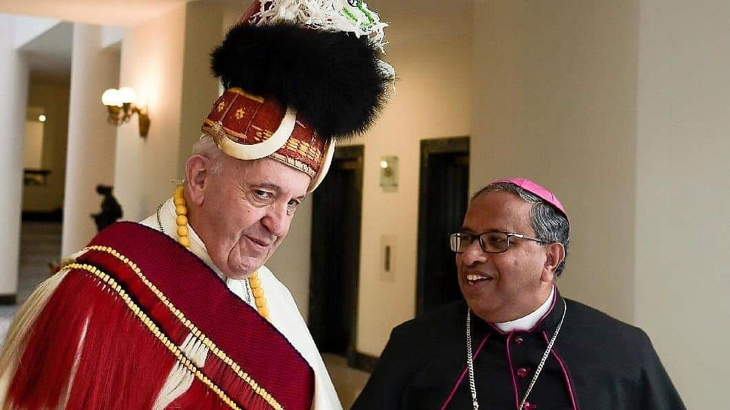 Pope Francis spotted in Naga headgear, necklace, sash in Vatican