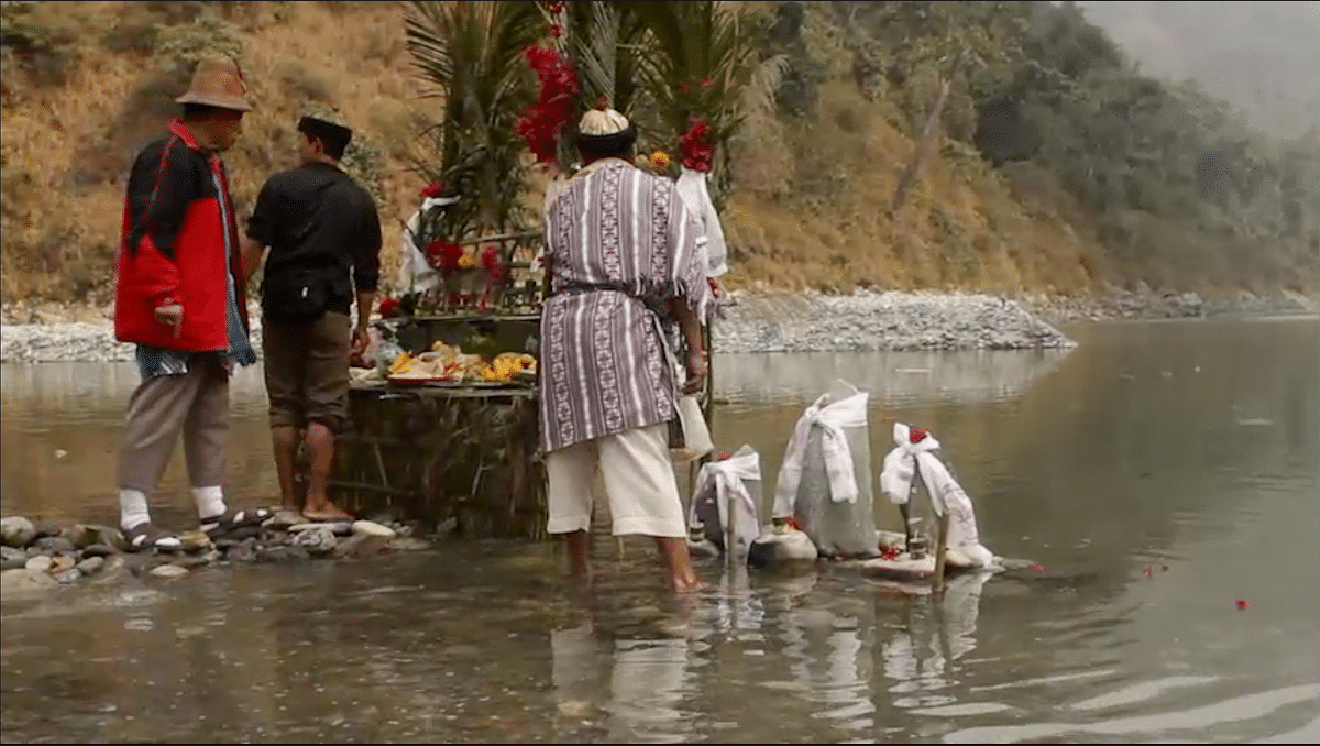 Lepcha shamans offering prayer to river Teesta