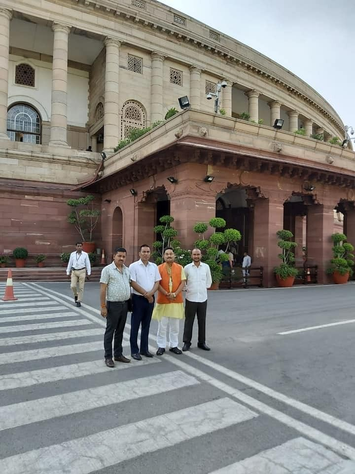 Mangaldoi MP Dilip Saikia (second from right) in Parliament