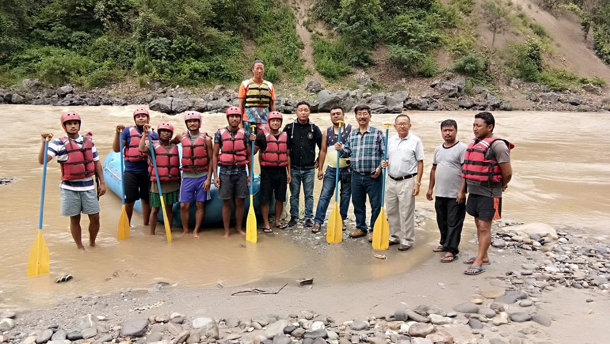 Shanti Rai with other members of her rafting team