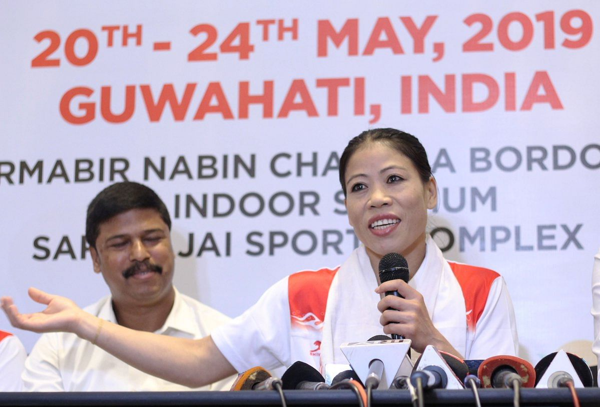 Manipuri boxer Mary Kom addresses the media ahead of the 2nd India Open International Boxing Tournament in Guwahati, Assam