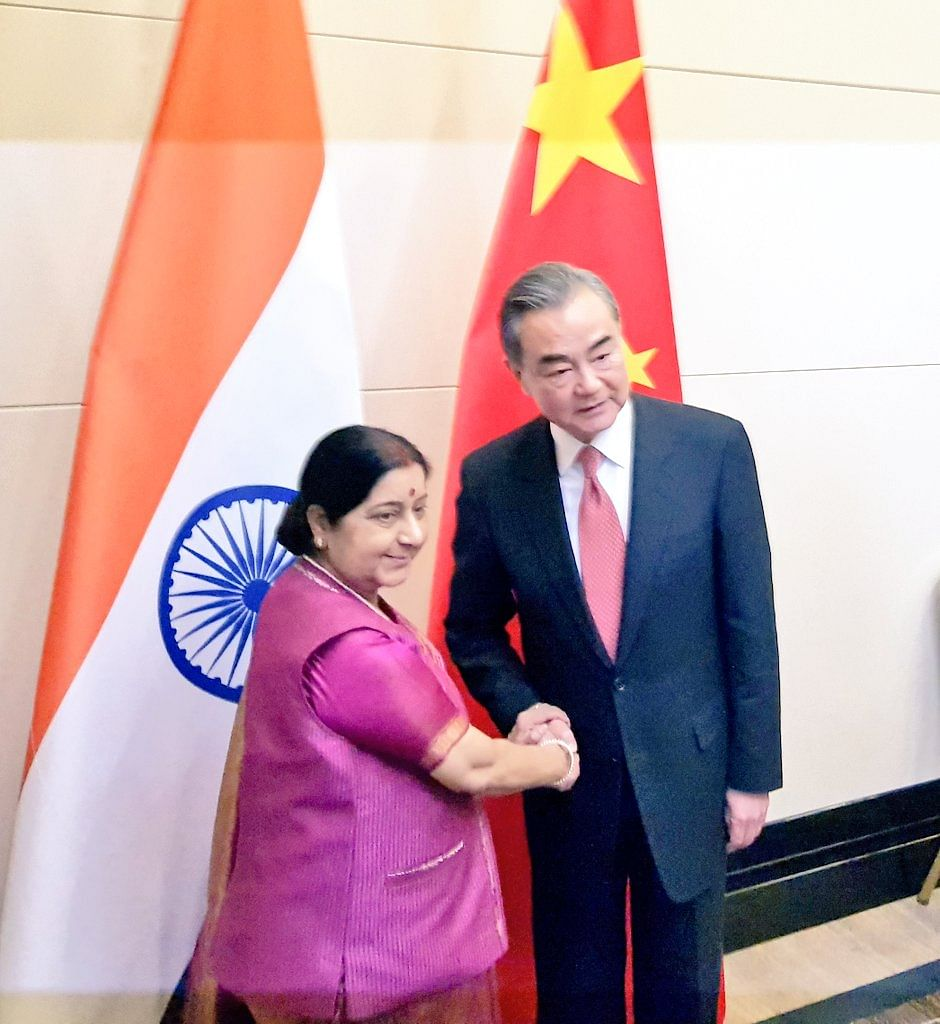 Sushma Swaraj with foreign minister of China Wang Yi