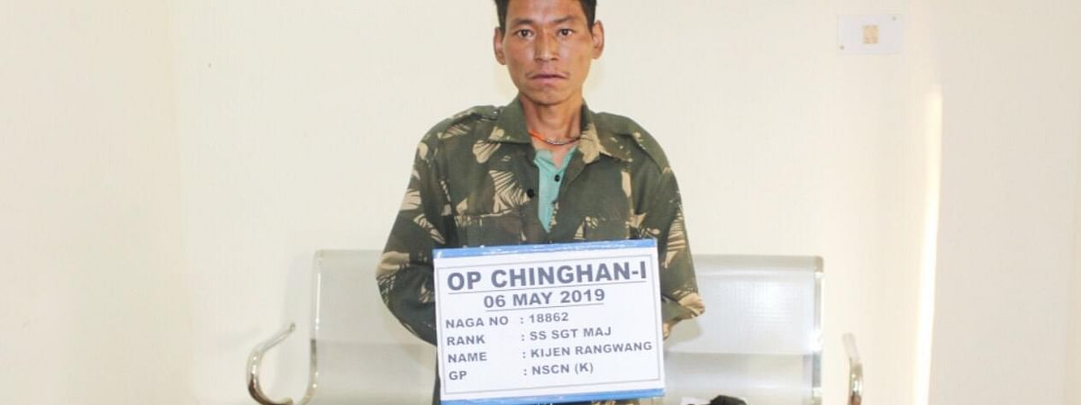 Kijen Rangwang, a self-styled sergeant of the NSCN(K), was apprehended by the Khonsa battalion of Assam Rifles in Chinghan village of Tirap district on Sunday
