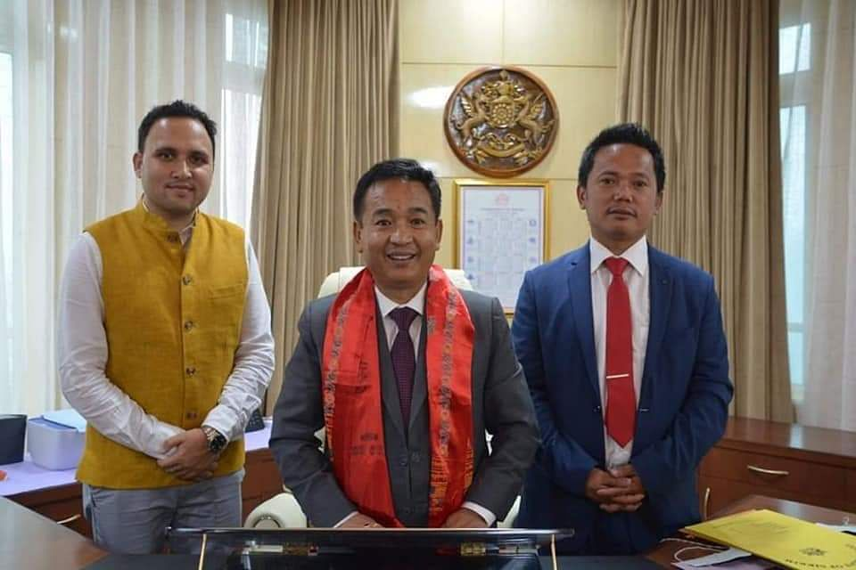 CM PS Golay after assuming office along with his political secretary Jacob Khaling (right) and confidential assistant Bikash Basnet (left)