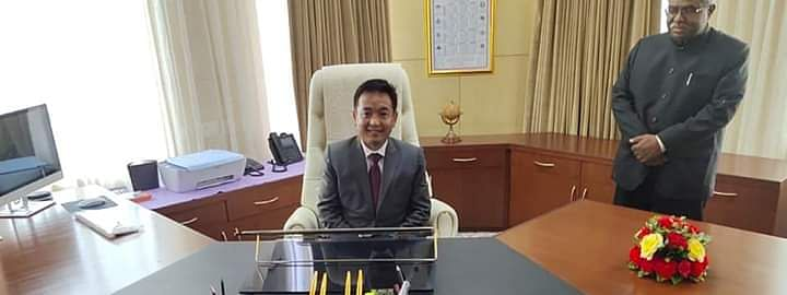PS Golay, the sixth chief minister of Sikkim, at his new office in Tashiling Secretariat in Gangtok