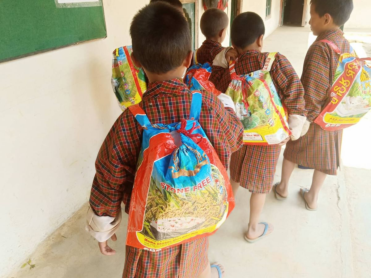 13 students of Gakidling Primary School in Sarpang dzongkhag of Bhutan have been given the recycled school bags on a trial basis