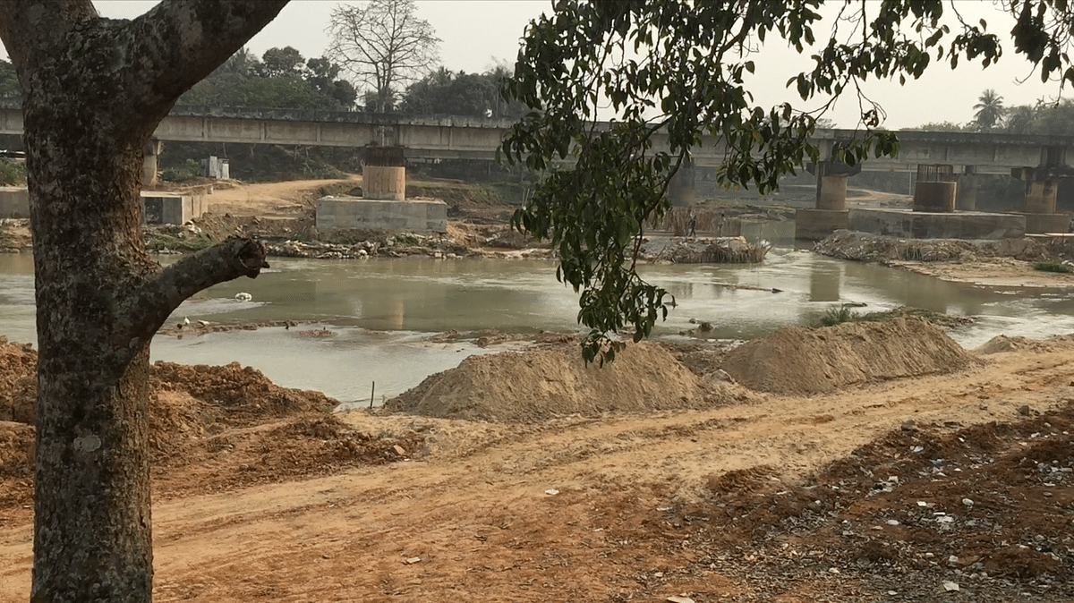 The ongoing construction of a bridge over river on NH-37 at Kukurmara by NF Railway has allegedly hindered the uninterrupted movement of the mammals