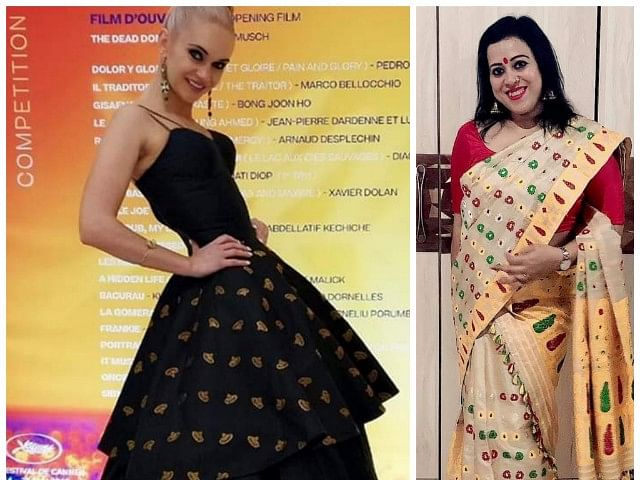UK model walks Cannes 'red carpet' in Sanjukta Dutta ensemble