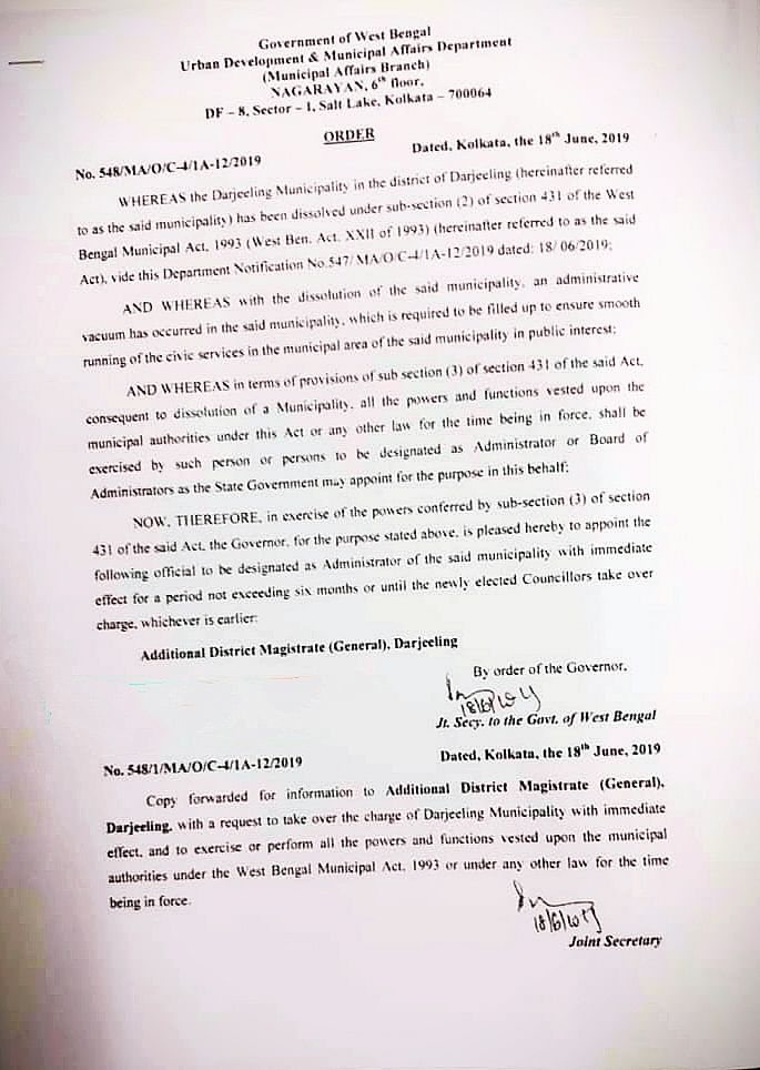 The order notifying the dissolution of Darjeeling Municipality