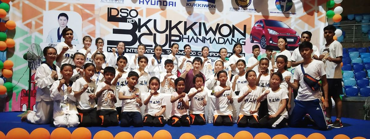 Students of Paljor Namgyal Girls' School, Gangtok posing with their medals at the 3rd Kukkiwon Cup International Taekwondo Competition in New Delhi