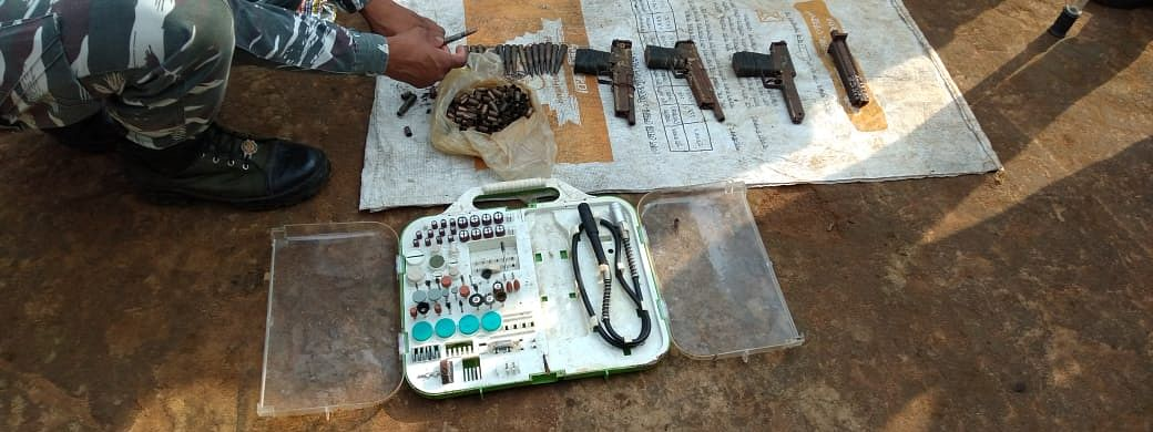 Police recovered three country-made guns, 23 cartridges of AK-47,167 empty cartridges of 9 mm pistol, five empty cartridges of SLR and one welding machine