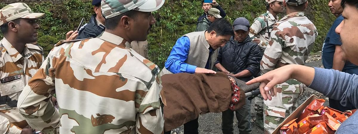 MLA Samdup Lepcha during the evacuation process in North Sikkim