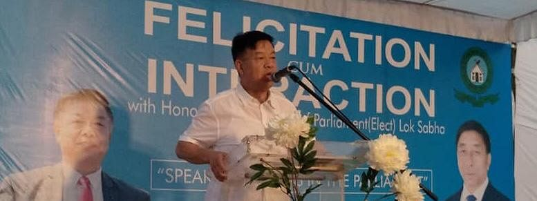 Dr Lorho S Pfoze, the first-time MP from Outer Manipur Lok Sabha constituency, addresses a felicitation event in New Delhi