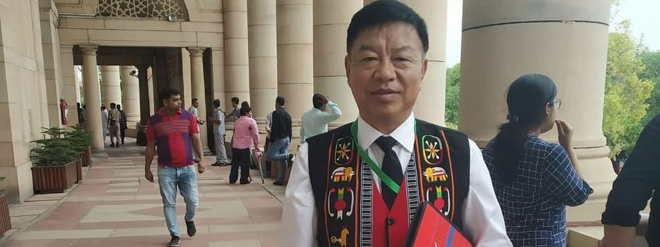 Dressed in traditional attire, Outer Manipur MP Lorho S Pfoze took oath as member of the 17th Lok Sabha during its first session in New Delhi on Monday