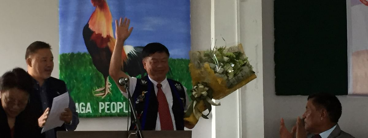 Outer Manipur MP Lorho Pfoze being felicitated by the Naga People's Front in Kohima on Wednesday