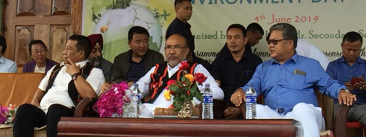 Manipur chief minister N Biren Singh participating in a programme to mark World Environment Day in Ukhrul on Wednesday