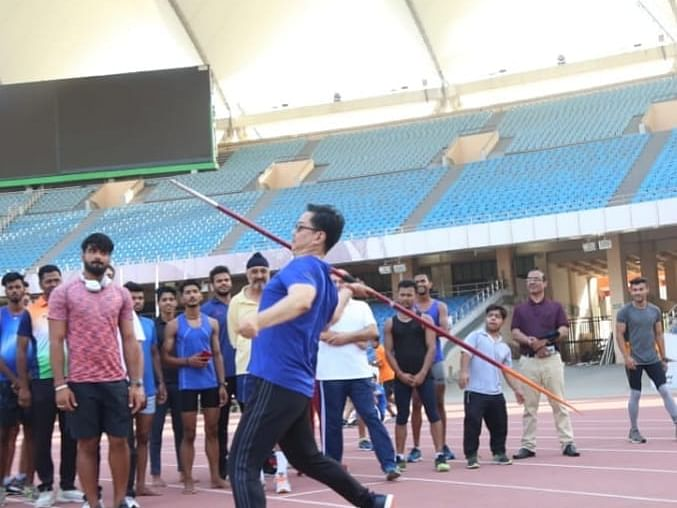 PHOTOS: Kiren Rijiju 'mingles' with athletes for breakfast, jog