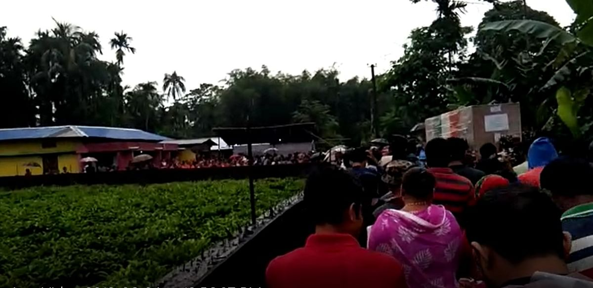 People in large numbers thronged the cremation site of martyr Niraj Chetry at Helem in Biswanath district of Assam on Tuesday
